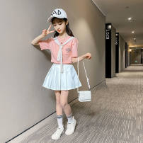 suit Other / other Pink suit [skirt with safety pants], grey suit [skirt with safety pants], pink suit with socks [skirt with safety pants], grey suit with socks [skirt with safety pants] female summer other Short sleeve + skirt Multi piece set routine Socket nothing letter cotton children Shopping