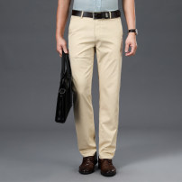 Western-style trousers Business gentleman Grey black Khaki trousers Polyester 67% cotton 33% Straight cylinder autumn leisure time middle age Business Casual Summer 2021 Solid color No iron treatment cotton Pure e-commerce (online only) other 30% (inclusive) - 49% (inclusive)
