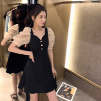 Women's large Summer 2020 black S M L Dress singleton  commute moderate Socket Short sleeve Solid color Korean version V-neck Three dimensional cutting puff sleeve Q5416 Jingxuan 18-24 years old Button 81% (inclusive) - 90% (inclusive) Medium length Other 100% Pure e-commerce (online only)