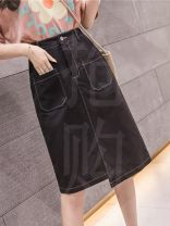 skirt Summer 2020 S,M,L,XL Black, white, apricot Middle-skirt commute High waist Irregular Solid color Type A 18-24 years old B123 51% (inclusive) - 70% (inclusive) Korean version