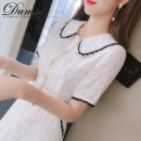 Dress Summer 2020 white S M L XL Mid length dress singleton  Short sleeve commute Doll Collar High waist Solid color Socket A-line skirt routine Others 25-29 years old Type A Alone Korean version Pleated stitching bead button zipper DM2020XZ0090 More than 95% other Other 100%