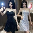 Dress Autumn 2020 Black, silver, underwear S,M,L,XL Short skirt singleton  Sleeveless commute V-neck middle-waisted other Socket A-line skirt camisole Type A Korean version Sequins