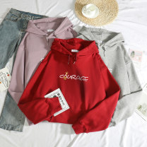 Sweater / sweater Autumn 2020 Ginger pink, dark purple, apricot blue, white, honey blue, purple, yellow M L XL 2XL 3XL 4XL Long sleeves routine Socket singleton  Thin money Hood easy commute routine letter 18-24 years old 51% (inclusive) - 70% (inclusive) Eugenie Korean version cotton OQNzjb2084