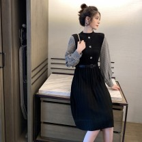 Dress Winter 2020 Black Brown S M L XL Mid length dress singleton  Long sleeves commute stand collar High waist houndstooth  Socket Pleated skirt routine Others 18-24 years old Type A Han Tingyan Korean version Stitching buttons Vk8hL More than 95% knitting other Other 100.00%