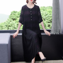 Dress Summer 2021 black - nine thousand five hundred and thirty-six L XL 2XL 3XL 4XL longuette singleton  Long sleeves commute Crew neck Loose waist Decor Socket A-line skirt routine Others 40-49 years old Type A Xirusa Korean version Button ARYG - nine thousand five hundred and thirty-six other