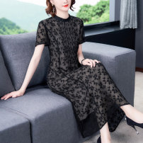 Dress Spring 2021 Black - 1991 L XL 2XL 3XL 4XL longuette singleton  Short sleeve commute Crew neck middle-waisted Decor Socket A-line skirt routine Others 40-49 years old Type A Xirusa Korean version printing LRFS-1991 30% and below silk Mulberry silk 30% others 70% Pure e-commerce (online only)