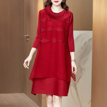 Dress Spring 2021 gules M L XL 2XL 3XL Mid length dress singleton  Nine point sleeve commute Crew neck Loose waist Solid color Socket A-line skirt routine Others 40-49 years old Type A Xirusa Simplicity Splicing JN-K210139 More than 95% other Other 100% Pure e-commerce (online only)