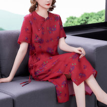 Dress Summer 2021 Picture color-8998 M L XL 2XL 3XL longuette singleton  Short sleeve commute Crew neck Loose waist Decor Socket A-line skirt routine Others 40-49 years old Type A Xirusa Korean version printing ATFS-8998 More than 95% other Other 100% Pure e-commerce (online only)