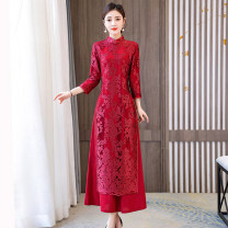 cheongsam Summer 2021 M L XL 2XL 3XL 4XL Long sleeves long cheongsam Retro No slits daily Oblique lapel Decor Over 35 years old Piping Xirusa other Other 100% Pure e-commerce (online only)
