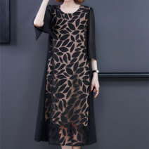 Dress Summer 2021 Black-3068 red-3068 gold-3068 L XL 2XL 3XL 4XL longuette singleton  Long sleeves commute Crew neck middle-waisted Decor Socket A-line skirt routine Others 40-49 years old Type A Xirusa Korean version printing LRYFS-3068 More than 95% other Other 100% Pure e-commerce (online only)