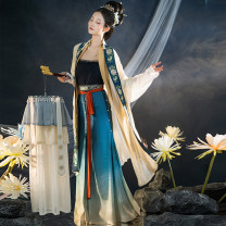 Hanfu 96% and above One piece song wipe, three pleated skirt, aircraft sleeve long shirt, half sleeve S,M,L,XL polyester fiber