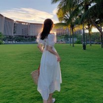 Dress Summer 2021 white S M L XL 2XL 3XL 4XL longuette singleton  Short sleeve Sweet One word collar High waist Solid color Socket Big swing puff sleeve Oblique shoulder 25-29 years old Type A Han Danlei Lace back HDL202128 More than 95% Chiffon other Other 100% Bohemia Pure e-commerce (online only)