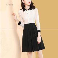 """Dress Spring of 2018 White black skirt, white floral skirt """"black and white irregular lattice"""", pink jacket short sleeve, white jacket short sleeve S,M,L,XL,2XL"""