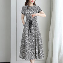 Middle aged and old women's wear Summer 2020 black M L XL 2XL 3XL Intellectuality Dress easy singleton  40-49 years old Socket moderate Crew neck Medium length other JSM308720 Ji Simo other Other 100% 96% and above Exclusive payment of tmall longuette other
