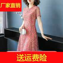 Middle aged and old women's wear Summer 2020 Green, pink fashion Dress Straight cylinder singleton  Decor 40-49 years old Socket thin stand collar routine Embroidery other 96% and above longuette Chiffon