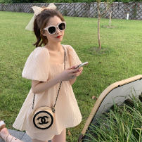 Women's large Summer 2020 Dress Two piece set Sweet easy thin Socket Short sleeve Solid color square neck polyester Three dimensional cutting puff sleeve 30% and below Middle-skirt Princess Dress shorts princess