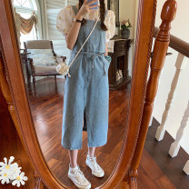 Dress Summer 2021 Denim skirt 8090 white base 2661 S M L average code Mid length dress Two piece set Short sleeve commute Crew neck middle-waisted Socket other puff sleeve straps 18-24 years old Type H Emperor's paradise Korean version 04168090T More than 95% other Other 100%