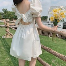 Dress Summer 2021 white S M L XL Short skirt singleton  Short sleeve commute square neck Solid color A-line skirt puff sleeve Others 18-24 years old Emperor's paradise Korean version More than 95% other Other 100% Pure e-commerce (online only)