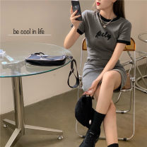 Dress Summer 2021 grey Average size Short skirt singleton  Short sleeve commute Crew neck routine 18-24 years old Emperor's paradise Korean version More than 95% other Other 100%