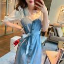 Dress Summer 2021 blue XS,S,M Mid length dress singleton  Sleeveless High waist other GA for the seasons