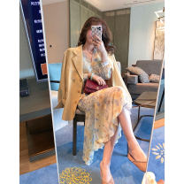 Dress Summer 2021 Picture color, picture color short sleeve XS,S,M Mid length dress singleton  Long sleeves GA for the seasons