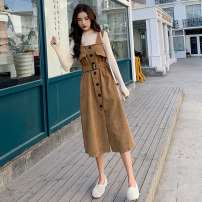 Dress Winter of 2019 S M L XL Mid length dress Two piece set Long sleeves commute Half high collar High waist Solid color Socket Big swing routine straps 18-24 years old Type H Zodanlai (dress) Korean version Lace up button More than 95% corduroy other Other 100% Pure e-commerce (online only)
