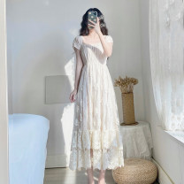 Dress Summer 2021 Apricot XS S M L longuette singleton  Short sleeve commute Crew neck High waist Solid color zipper Big swing routine Others 18-24 years old Type A Ni Huo Retro Crochet mesh zipper lace NH20021 More than 95% other polyester fiber Polyester 100% Exclusive payment of tmall