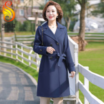 Middle aged and old women's wear Spring 2021 Dark Red Navy XL XXL 3XL 4XL 5XL fashion Windbreaker easy singleton  Solid color 40-49 years old Cardigan moderate Polo collar Medium length routine Craftsman Xiyue pocket other Other 100% 96% and above Pure e-commerce (online only) double-breasted