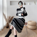Dress Winter 2020 Black blue S M L XL Mid length dress singleton  Long sleeves commute Crew neck middle-waisted stripe Socket A-line skirt routine 18-24 years old Dream like spirit Korean version More than 95% knitting other Other 100% Pure e-commerce (online only)