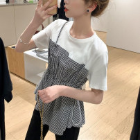 Women's large Korean version routine Cotton 96% and above Bandage Summer 2021 commute Fake two pieces shirt Short sleeve 565328285 Condom Crew neck moderate Check solid 25-29 years old Polyester cotton easy Chuanrun (clothing) Stereoscopic cutting 96% and above Other 100% routine Pear shape