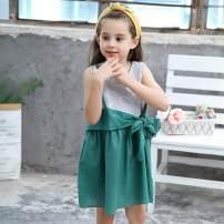 Dress spring and autumn Korean version cotton Strapless skirt stripe Class B female Other / other Cotton 100% 8 years old Strapless skirt 1103# Chinese Mainland green 90cm,100cm,110cm,120cm,130cm