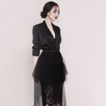 Fashion suit Winter 2020 S M L XL Black top white top black skirt white skirt 18-25 years old Luofen (clothing) 51% (inclusive) - 70% (inclusive) polyester fiber Other 100% Exclusive payment of tmall