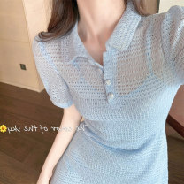 Dress Summer 2020 Blue white S M L Short skirt Two piece set Short sleeve commute Polo collar High waist Solid color Socket other puff sleeve Others 18-24 years old Type X Luofen (clothing) lady Hollowing out More than 95% other other Other 100%