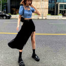 skirt Summer 2020 S,M,L,XL,2XL Mid length dress street High waist Irregular Solid color Type A Europe and America