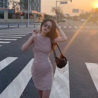 Dress Summer 2021 Purple pink dress S M L XL Short skirt singleton  Sleeveless commute Crew neck High waist Solid color Socket One pace skirt routine Others 18-24 years old Mu zhiou Korean version zipper M525 More than 95% other Other 100% Pure e-commerce (online only)