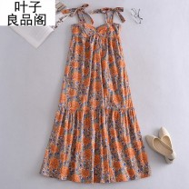 Dress Summer 2021 orange XS,S,M,L longuette singleton  street High waist other Socket Ruffle Skirt Others 30-34 years old Other / other Lace up, bow, print, ruffle, backless, stitching, print / print 30% and below other