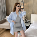 Women's large Spring 2021 Blue shirt, grey skirt S M L XL Two piece set commute Cardigan Long sleeves Korean version Polo collar other routine H2146 Esname / yushman 18-24 years old Short skirt Other 100% Pure e-commerce (online only)
