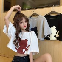 T-shirt White grey black M L XL Summer 2021 Short sleeve Crew neck easy Super short routine commute cotton 71% (inclusive) - 85% (inclusive) 18-24 years old Korean version youth Solid color Ralph LLF10691WYX1 printing Cotton 71% polyester 29% Pure e-commerce (online only)