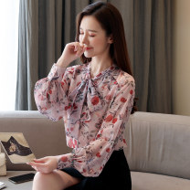 Women's large Spring 2021 Light pink S M L XL 2XL singleton  commute easy Long sleeves Decor Retro V-neck routine routine Yi Kaili Button Other 100% Exclusive payment of tmall