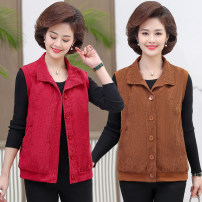 Middle aged and old women's wear Spring 2020 XL 2XL 3XL 4XL 5XL commute Vest easy singleton  Solid color 40-49 years old Cardigan moderate other routine YF100 Ce'an pocket polyester Polyester 100% 96% and above Pure e-commerce (online only) Single breasted Korean version