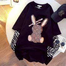 T-shirt M,L,XL,2XL Spring 2021 Crew neck Medium length routine cotton 86% (inclusive) -95% (inclusive)