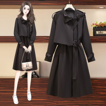 Women's large Spring 2021 Black [soft wear / French retro Hepburn / Hong Kong Style] Large L [100-120 Jin] Large XL [120-140 Jin] large 2XL [140-160 Jin] large 3XL [160-180 Jin] large 4XL [180-200 Jin] Windbreaker singleton  commute easy moderate Cardigan Long sleeves Solid color Korean version other
