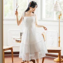 Dress Spring 2021 6476 suspender skirt 6477 white coat S M L XL Mid length dress singleton  Sleeveless Sweet One word collar High waist Dot Socket other camisole 18-24 years old Huaxin Art More than 95% other Other 100% Mori Pure e-commerce (online only)