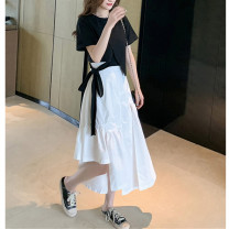 Dress Summer 2021 Black T-shirt white skirt black top + white skirt S M L XL longuette Two piece set Short sleeve commute Crew neck High waist Solid color other Irregular skirt routine Others 18-24 years old Type A Mei Miaoyi Korean version bow UESZ11282 More than 95% other other Other 100%