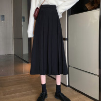 skirt Autumn 2020 S M L Black Khaki Mid length dress commute High waist Pleated skirt Solid color 18-24 years old 31% (inclusive) - 50% (inclusive) Subbaoanop / plain clothes polyester fiber Korean version Polyester 45% other 55% Pure e-commerce (online only)