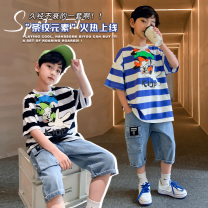 suit The mark of Ningmeng Blue black 110cm 120cm 130cm 140cm 150cm 160cm male summer Korean version Short sleeve + pants 2 pieces routine There are models in the real shooting Socket nothing printing other children Expression of love NMYJ-TZ7856 Class B Other 100% Summer 2021 Chinese Mainland