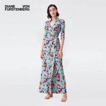 Dress Summer 2021 Tflmg Mint medium Dahlia XXS XS S M L longuette other 30-34 years old DIANE VON FURSTENBERG DVFDW1P007TFLMG More than 95% silk Mulberry silk 100% Same model in shopping mall (sold online and offline)