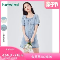 Dress Spring 2021 04 white 06 blue 06 blue (f19w1617) 06 blue (f19w1211) S M L XL Middle-skirt singleton  Short sleeve street square neck middle-waisted other Socket other routine Others 18-24 years old Type A Hot wind F19W1109 81% (inclusive) - 90% (inclusive) other cotton Sports & Leisure