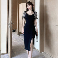 Dress Summer 2020 Black dress S M L XL longuette singleton  Short sleeve commute V-neck High waist Solid color Socket One pace skirt puff sleeve Others 18-24 years old Type A Kunianduo Korean version Splicing More than 95% other Other 100% Pure e-commerce (online only)