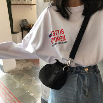 T-shirt M,L,XL,XXL Spring 2021 Long sleeves Crew neck easy Medium length routine commute other 96% and above 18-24 years old Korean version originality letter Luminous shadows / fine wind 3D, printing